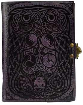 "5"" X 7"" Owl Leather Blank Book W- Latch"
