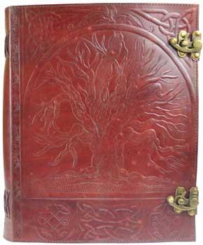 "10"" X 13"" Tree Leather Blank Book W- Latch"