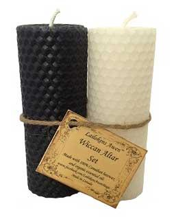 "4 1-4"" Wiccan Altar Set Black & White Lailokens Awen Candle"