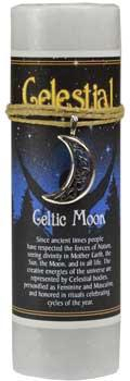 Celtic Moon Pillar Candle With Ritual Necklace