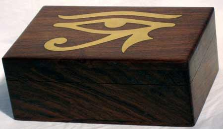 "Brass Inlaid Eye Of Horus Box 4"" X 6"""