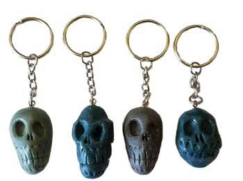 "1 1-2"" Resin Skull Key Ring (assorted Colors)"
