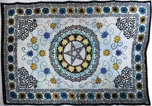"Flower Pentagram Tapestry 72"" X 108"""