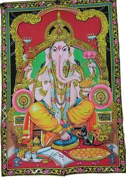 "30"" X 40"" Ganesha Multi Color Tapestry"
