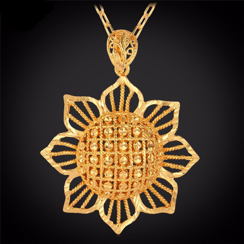 Exquisite Big Flower 18K Gold Plated Pendant Necklace Red Star Store