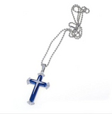 Christian - Exquisite Blue/Black and Silver Cross Necklace