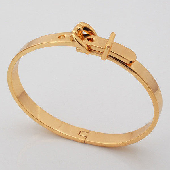 Trendy Belt Bangle Platinum/18K Gold Plated Round  Bracelet