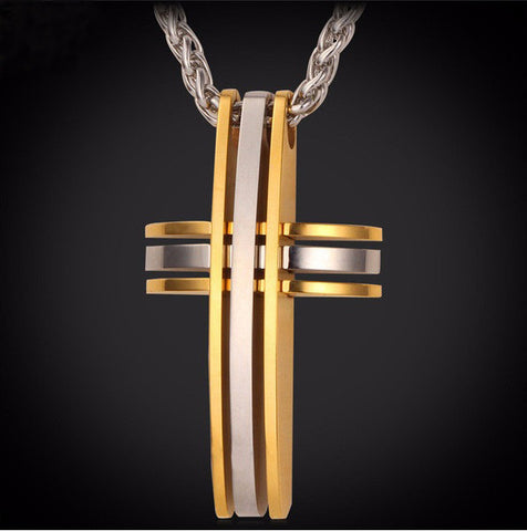 Christian - Classic 316L Stainless Steel / 18k Gold Plated Cross Pendant Necklace