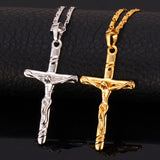 Christian - 18K Real Gold Plated Jesus Cross Pendant Necklace