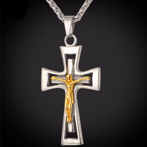 Christian - 18K Gold Plated & 316L Stainless Steel Crucifix Cross Pendant