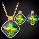Colorful Stone & Rhinestone 18K Gold Plated Earrings & Necklace Set
