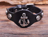 Metal Anchor Black Leather Bracelet