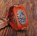 Tribal Skull Studded Orange Leather Cuff Bracelet