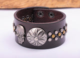 Floral Cross Skull Studded Brown Leather Cuff Bracelet