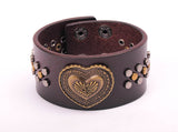 Heart Studded Brown Leather Cuff Bracelet