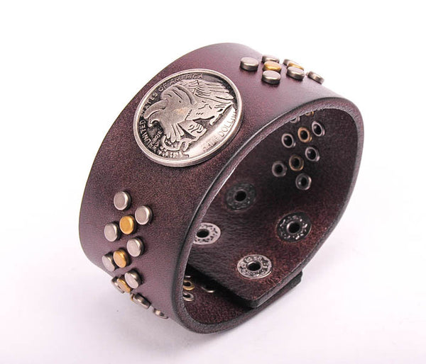 Metal Eagle Studded Brown Leather Cuff Bracelet