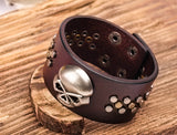 Metal Skull Studded Brown Leather Cuff Bracelet