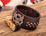 Eagle Studded Brown Leather Cuff Bracelet