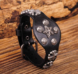 Vintage Cross & Star Studded Black Leather Bracelet