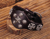 Vintage Cross & Star Studded Brown Leather Bracelet