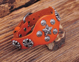 Vintage Cross & Star Studded Orange Leather Bracelet