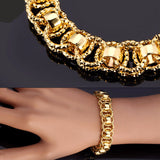 Unique Round Chain & Link Bracelet Platinum/18K Real Gold Plated Bracelet