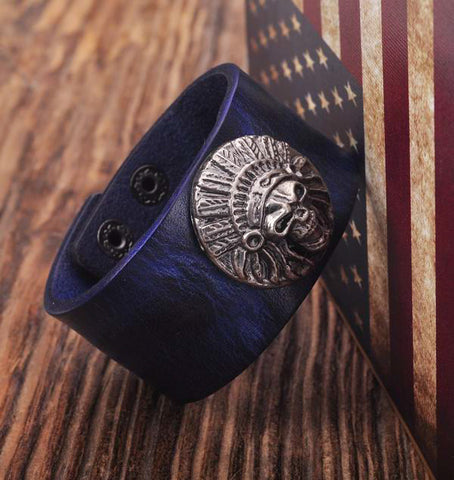 Blue Tribal Skull Biker Studded Leather Cuff Bracelet