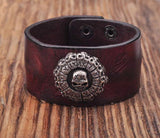 Roman Numeral Skull Studs Brown Leather Bracelet