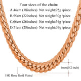 18K Real Gold or Platinum Plated 6 MM Wide Snake Chain Necklace 3 Colors