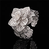 Exquisite Big Flower Platinum/18K Gold Plated Ring & Bracelet Jewelry Set