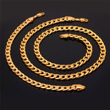 18K Gold/Platinum Plated Chunky Carb Cuban Link Chain Bracelet & Necklace Jewelry Set