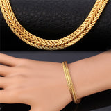 Unique 18K Gold/Rose Gold/Platinum Plated Snake Chain Necklace & Bracelet