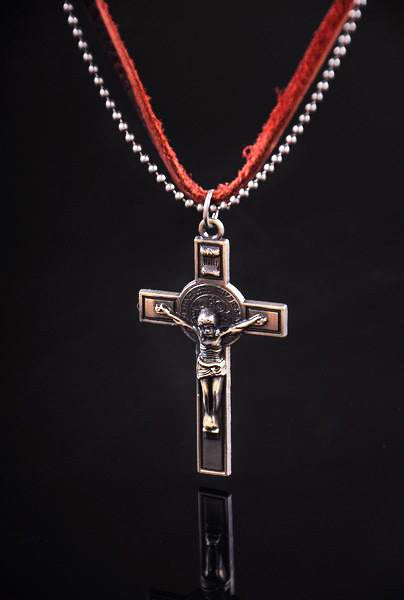 Jesus Cross Metal Chain & Leather Choker Necklace