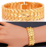 Heart Romantic Lovers' Platinum/18K Gold Plated Carving Wristband Bracelet