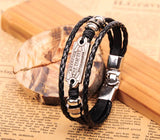Black Metal Studded Leather Hemp Biker Bracelet