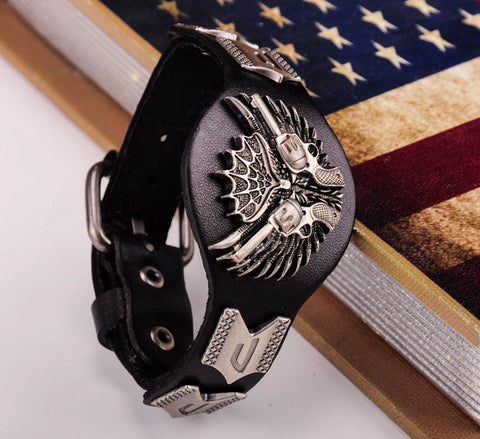 Cool Gun & Wing Biker Black Leather Bracelet