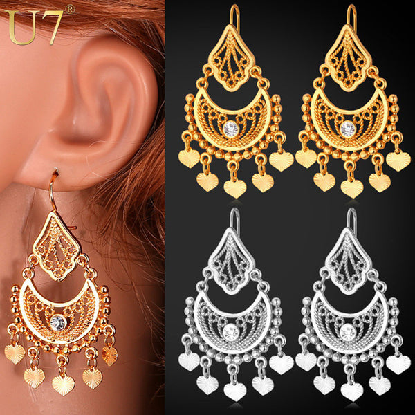 a7405f79c Indian Jewelry Dangle 18K Real Gold/Platinum Plated Rhinestone Classic –  Red Star Store