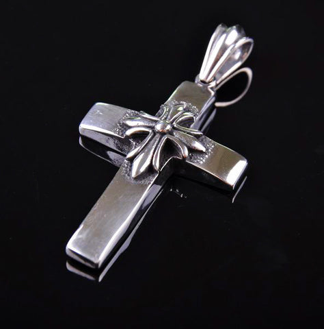 Double Cross 316L Stainless Steel Pendant Necklace