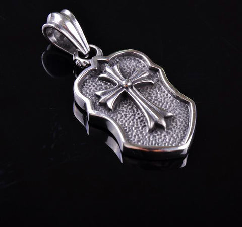 Cross Shield 316L Stainless Steel Pendant Necklace