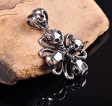 Vintage Flower Skull 316L Stainless Steel Pendant Necklace