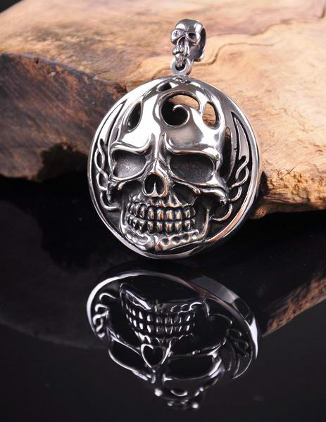 Vintage Skull 316L Stainless Steel Pendant Necklace