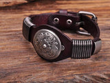 Handmade Leather Men's Floral Studded Bracelet Cuff