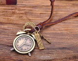 Vintage Clock Surfer Leather Adjustable Necklace