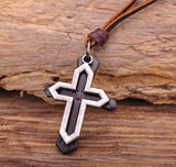 Double Cross Adjustable Leather Choker Necklace