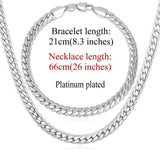 Trendy 18K Gold/Platinum Plated Chain Necklace & Bracelet Jewelry Set