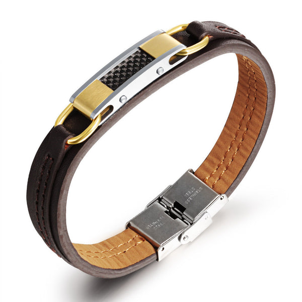 Luxury Stainless Steel With Carbon Fiber PU Leather Bracelet