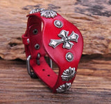 Metal Cross Studded Red Leather Bracelet