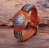 Vintage Floral Studded Orange Leather Bracelet
