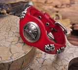 Biker Special Shield Studded Red Leather Bracelet