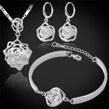 Cubic Zirconia & 18K Gold/Platinum Plated Romantic Rose Necklace/Earrings/Bracelet Jewelry Set